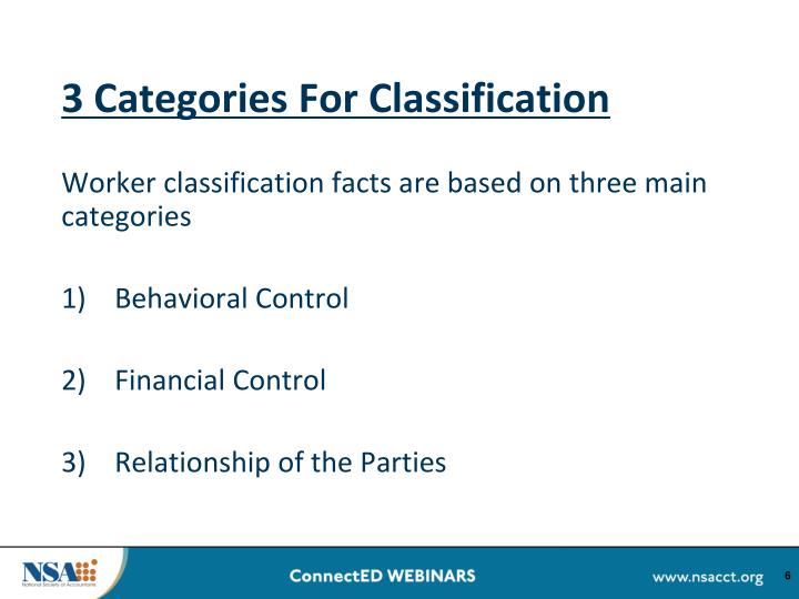 3 Categories For Classification