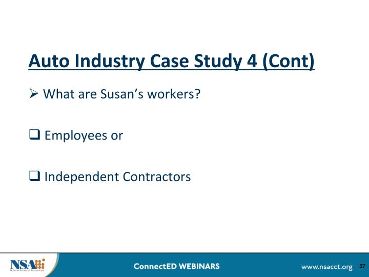 Auto Industry Case Study 4 (Cont)