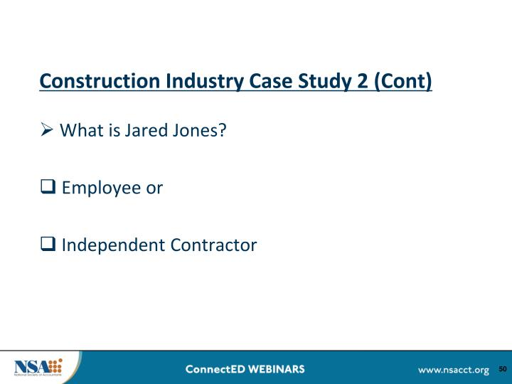 Construction Industry Case Study 2 (Cont)