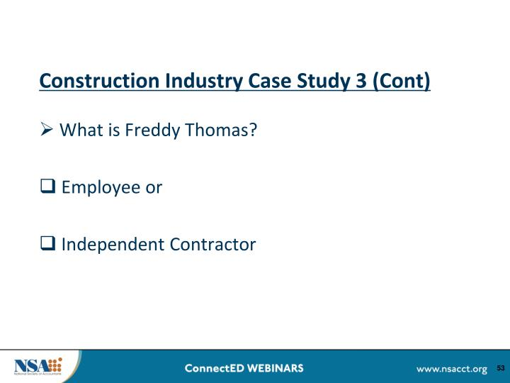 Construction Industry Case Study 3 (Cont)