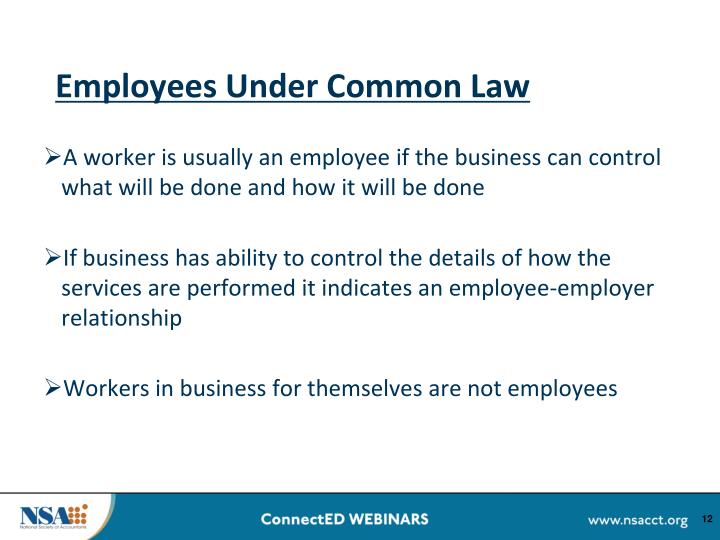 Employees Under Common Law