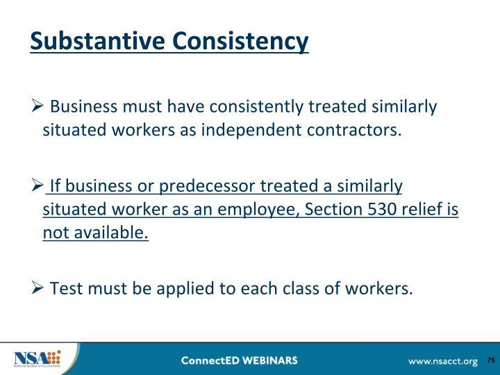 Substantive Consistency