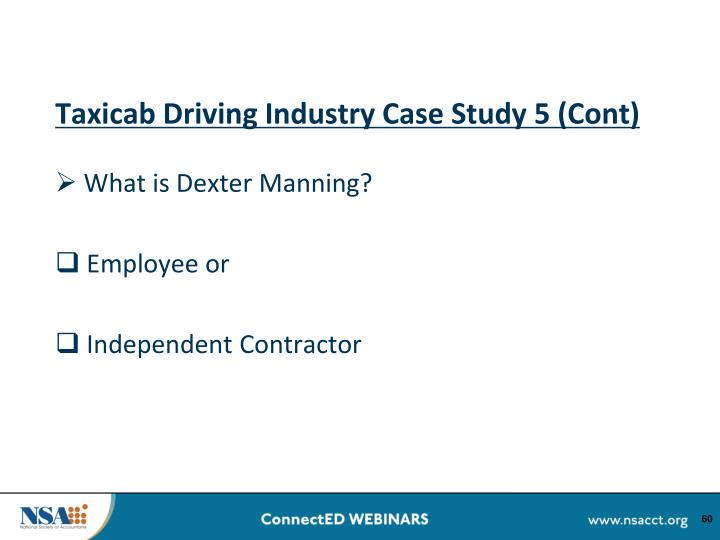 Taxicab Driving Industry Case Study 5 (Cont)