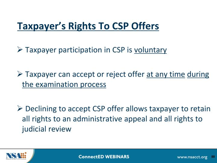 Taxpayer's Rights To CSP Offers