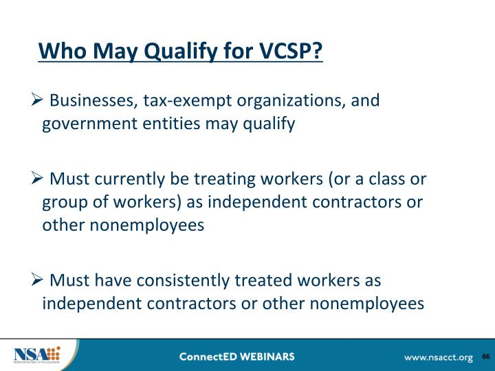 Who May Qualify for VCSP?