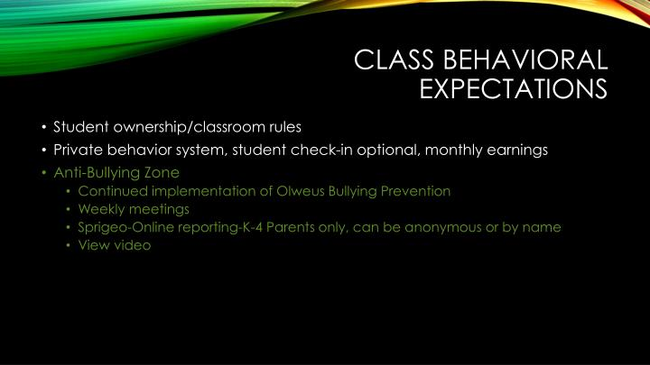 Class Behavioral Expectations