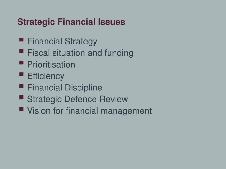 Strategic Financial Issues