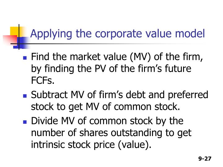 Applying the corporate value model