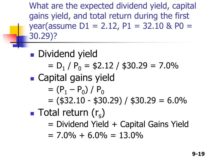 What are the expected dividend yield, capital gains yield, and total return during the first year(assume D1 = 2.12, P1 = 32.10 & P0 = 30.29)?