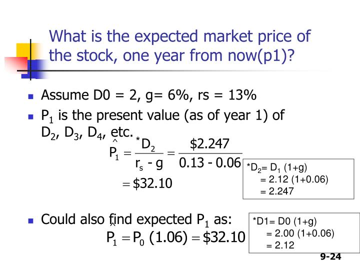 What is the expected market price of the stock, one year from now(p1)?