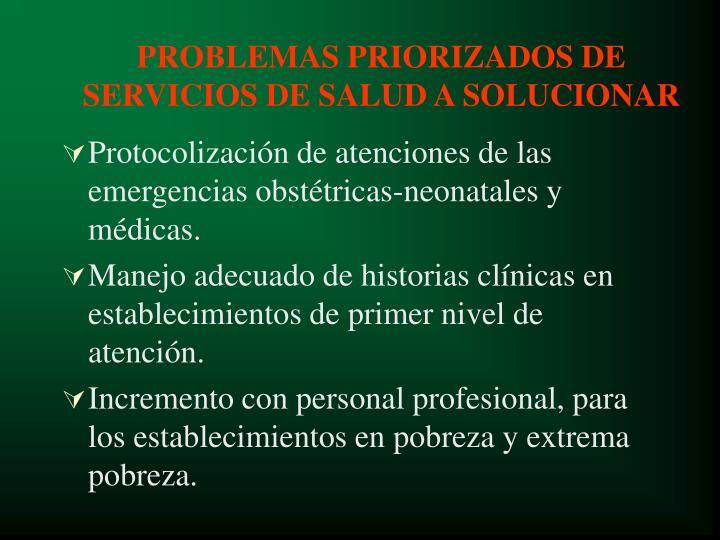 PROBLEMAS PRIORIZADOS DE SERVIC