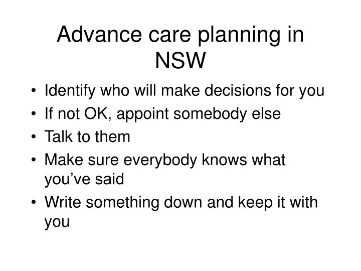 Advance care planning in NSW