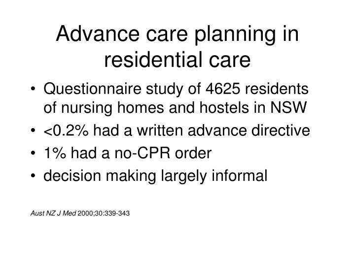 Advance care planning in residential care