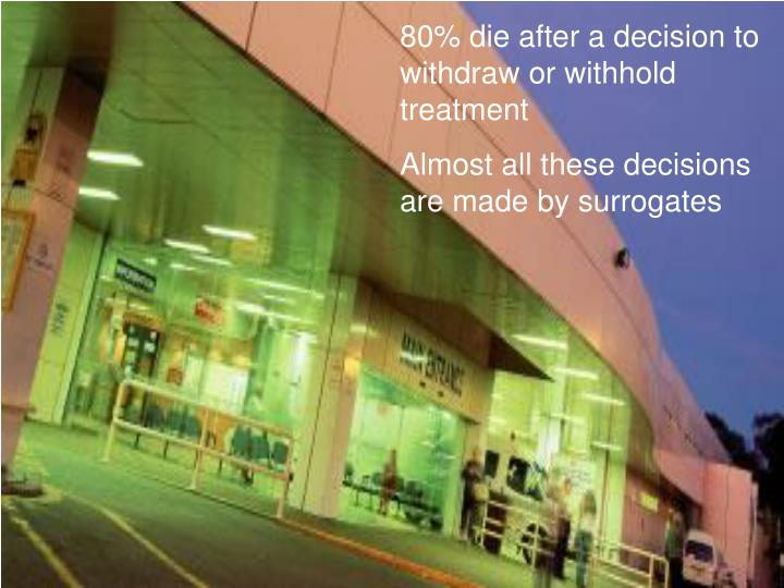 80% die after a decision to withdraw or withhold treatment