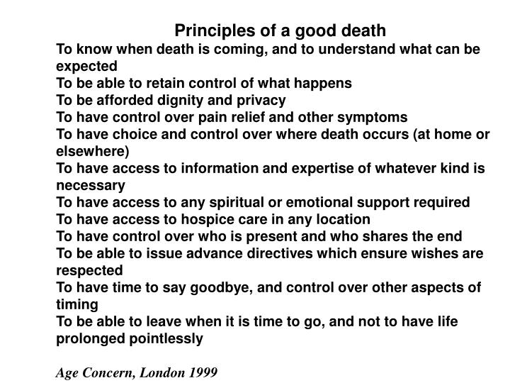 Principles of a good death
