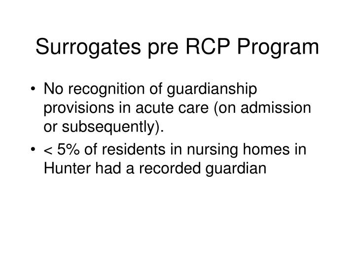 Surrogates pre RCP Program