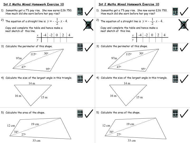 Int 2 Maths Mixed Homework Exercise 10