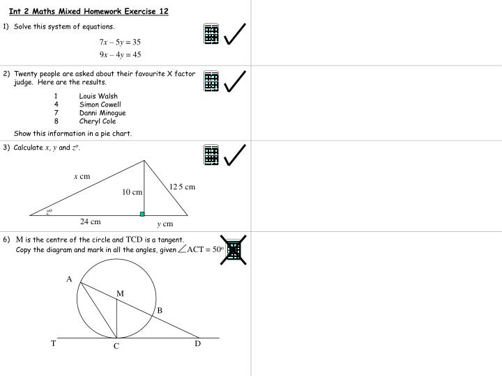 Int 2 Maths Mixed Homework Exercise 12