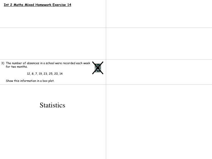 Int 2 Maths Mixed Homework Exercise 14