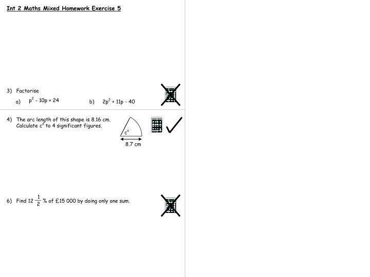 Int 2 Maths Mixed Homework Exercise 5