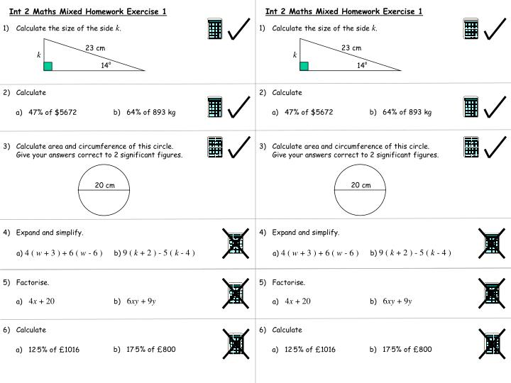 Int 2 Maths Mixed Homework Exercise 1