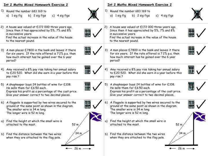 Int 2 Maths Mixed Homework Exercise 2