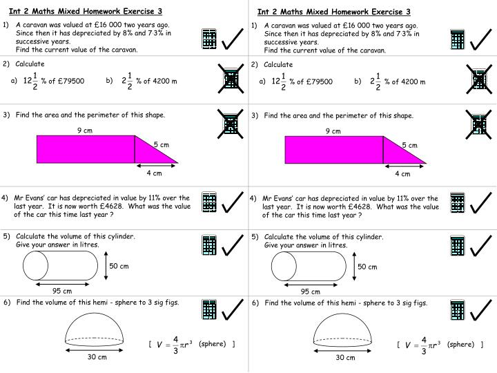 Int 2 Maths Mixed Homework Exercise 3