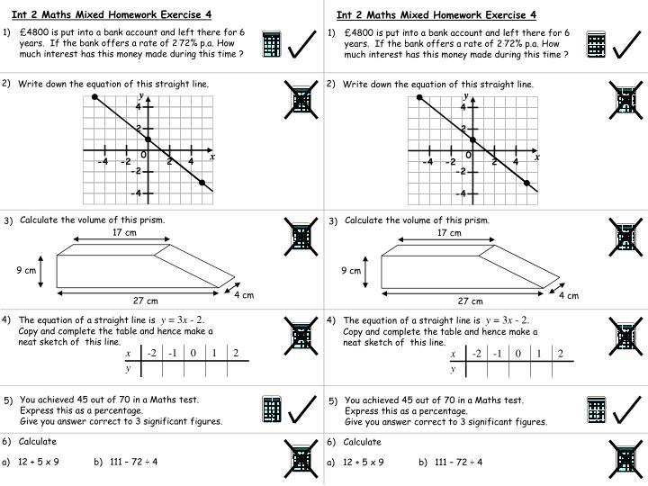 Int 2 Maths Mixed Homework Exercise 4