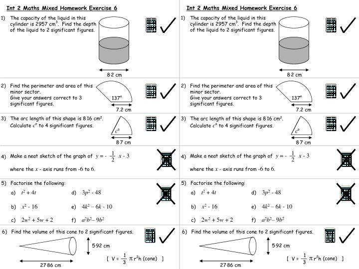 Int 2 Maths Mixed Homework Exercise 6