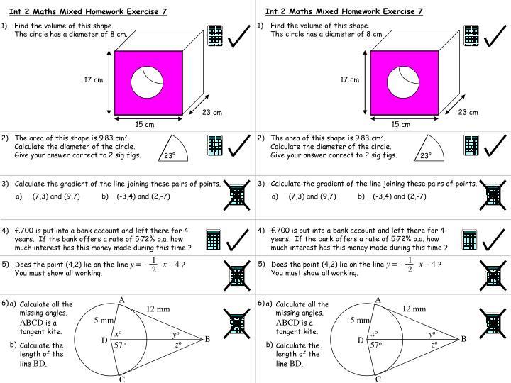 Int 2 Maths Mixed Homework Exercise 7