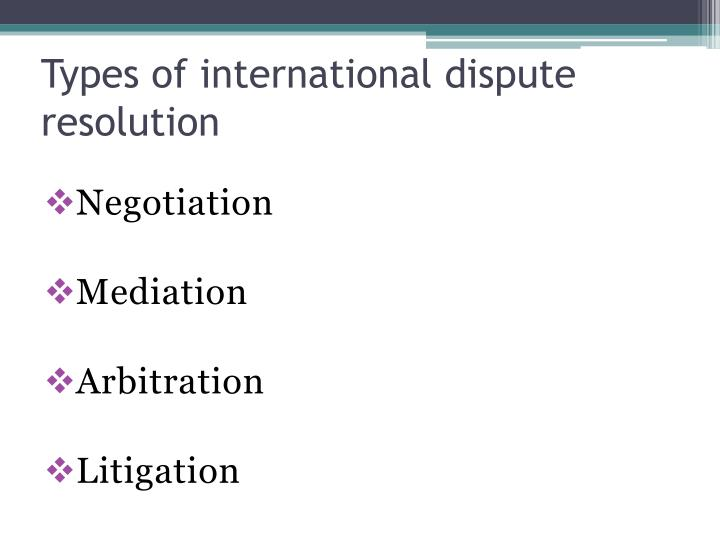 Types of international dispute resolution