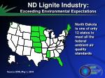 nd lignite industry exceeding environmental expectations