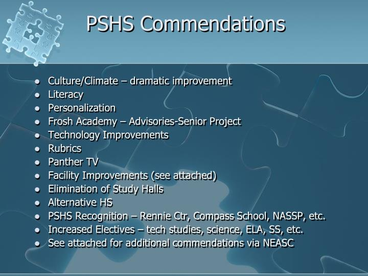 PSHS Commendations