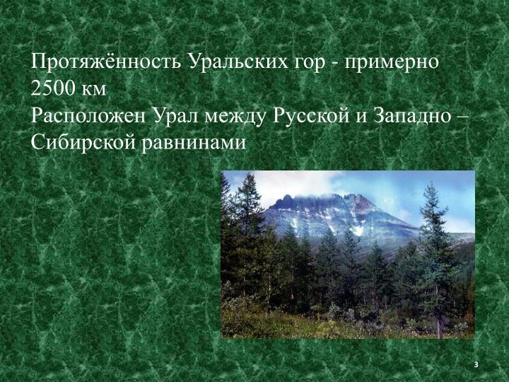 Протяжённость Уральских