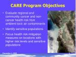 care program objectives