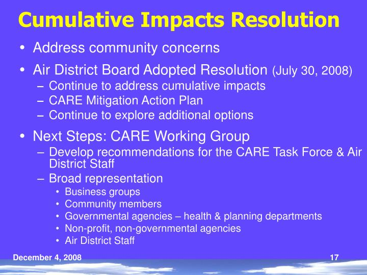 Cumulative Impacts Resolution