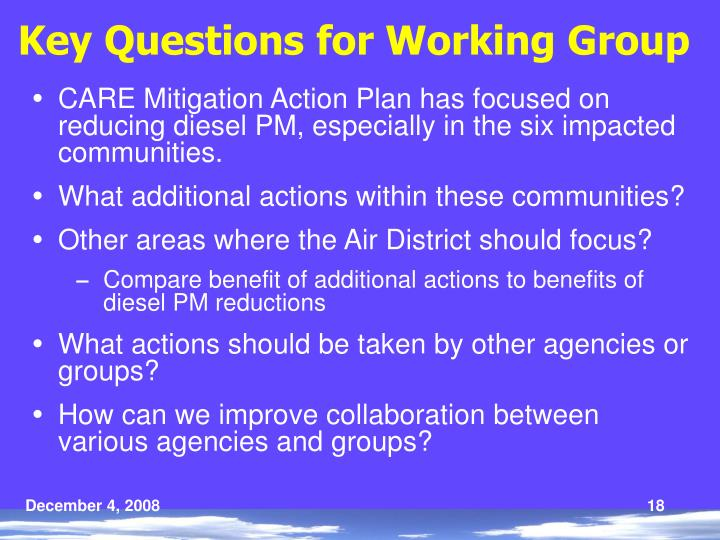 Key Questions for Working Group