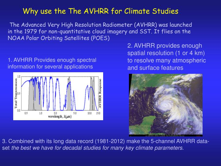 Why use the The AVHRR for Climate Studies