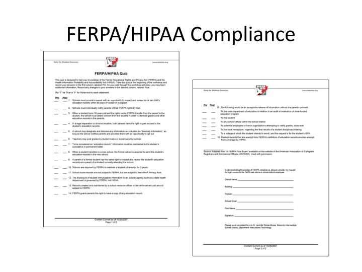 FERPA/HIPAA Compliance