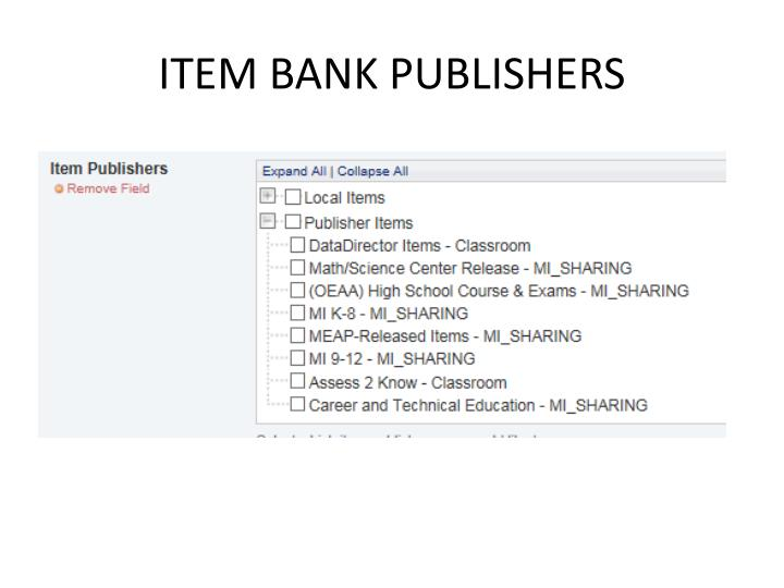 ITEM BANK PUBLISHERS