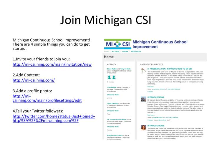 Join Michigan CSI