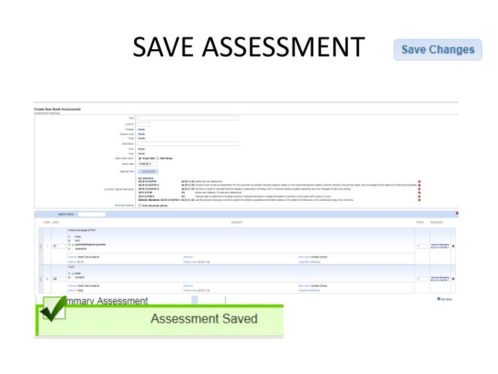 SAVE ASSESSMENT