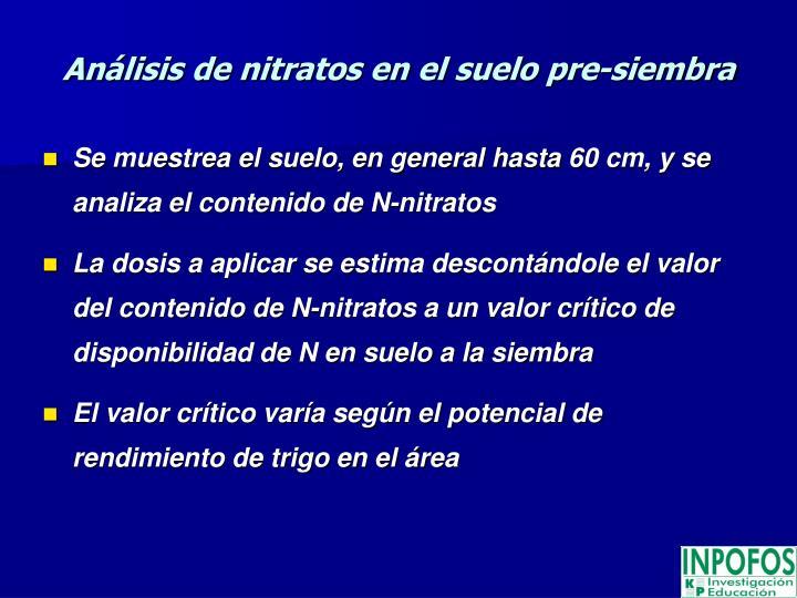 Análisis de nitratos en el suelo pre-siembra