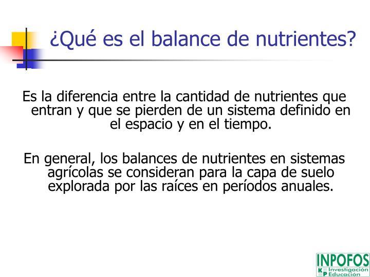 ¿Qué es el balance de nutrientes?