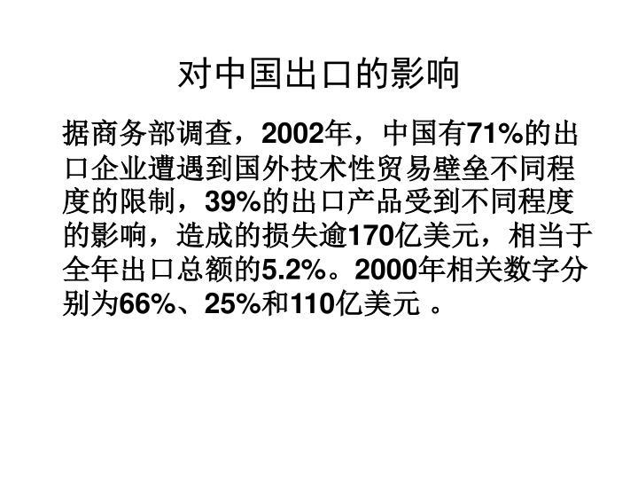 对中国出口的影响