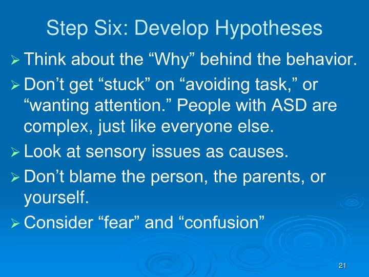 Step Six: Develop Hypotheses
