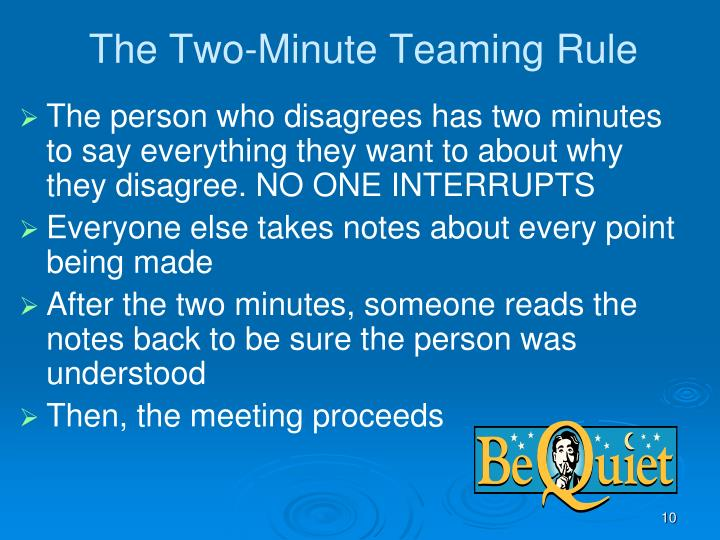 The Two-Minute Teaming Rule