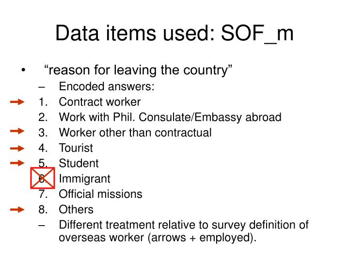 Data items used: SOF_m