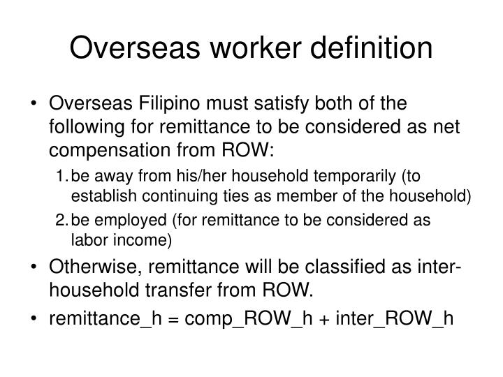 Overseas worker definition