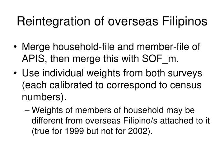Reintegration of overseas Filipinos